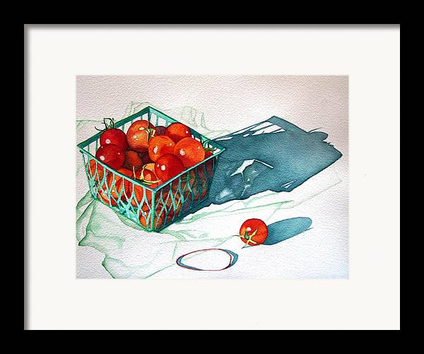 Tomatos Framed Print featuring the painting Tomato Basket by Gail Zavala