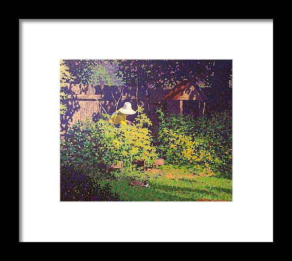 Landscape Framed Print featuring the painting Tomato Patch by Kevin Lawrence Leveque