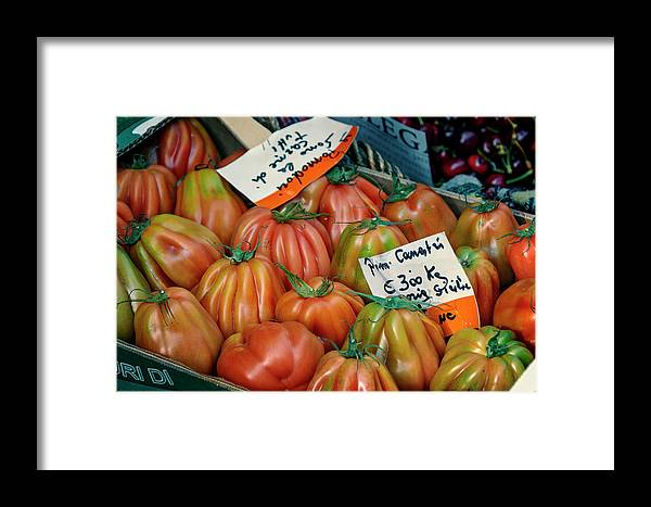 Joan Carroll Framed Print featuring the photograph Tomatoes At Market by Joan Carroll