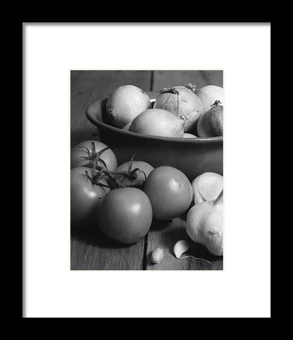 Cooking Framed Print featuring the photograph Tomatos Onion And Garlic by Henry Krauzyk