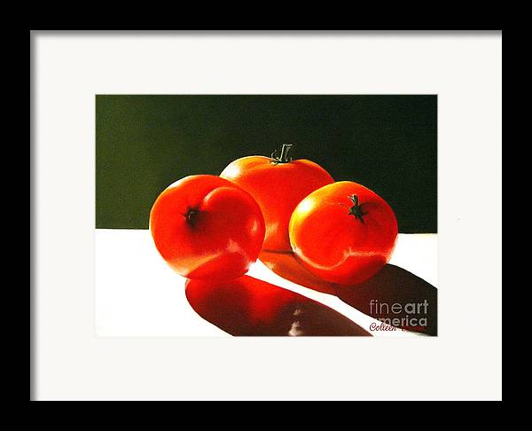 Red Framed Print featuring the painting Tomayta Tomato by Colleen Brown