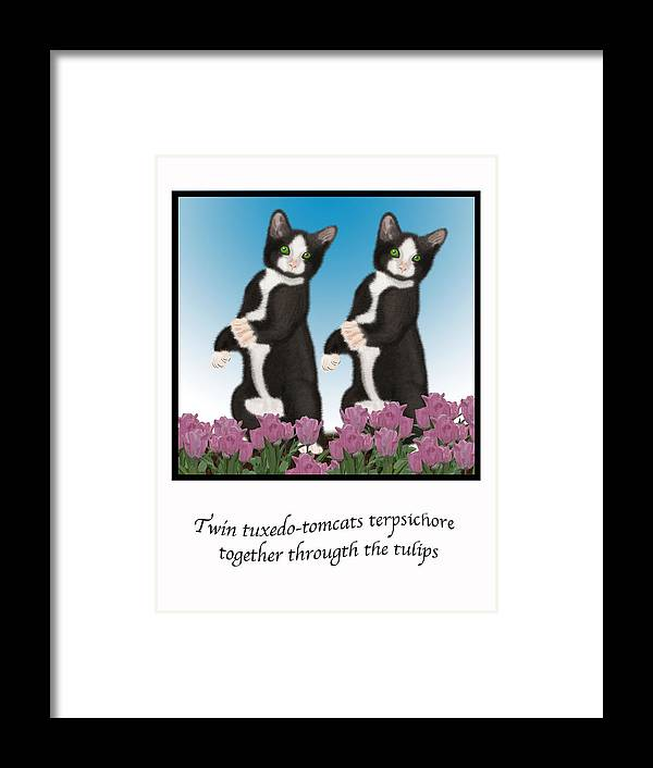 Digital Art Framed Print featuring the digital art Twin Tuxedo-tomcats Terpsichore by Lois Boyce