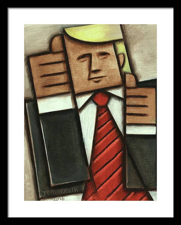Trump Framed Print featuring the painting Tommervik Abstract Donald Trump Thumbs Up Painting by Tommervik
