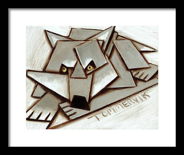 Wolf Framed Print featuring the painting Tommervik Geometric Gray Wolf Painting Art Print by Tommervik