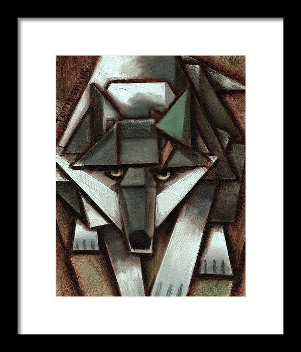Wolf Framed Print featuring the painting Tommervik Gray Wolf Tree Art Print by Tommervik