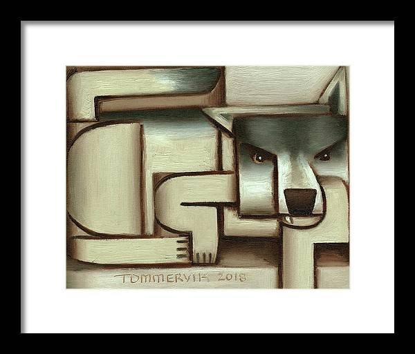 Wolf Framed Print featuring the painting Tommervik Lone Wolf Art Print by Tommervik
