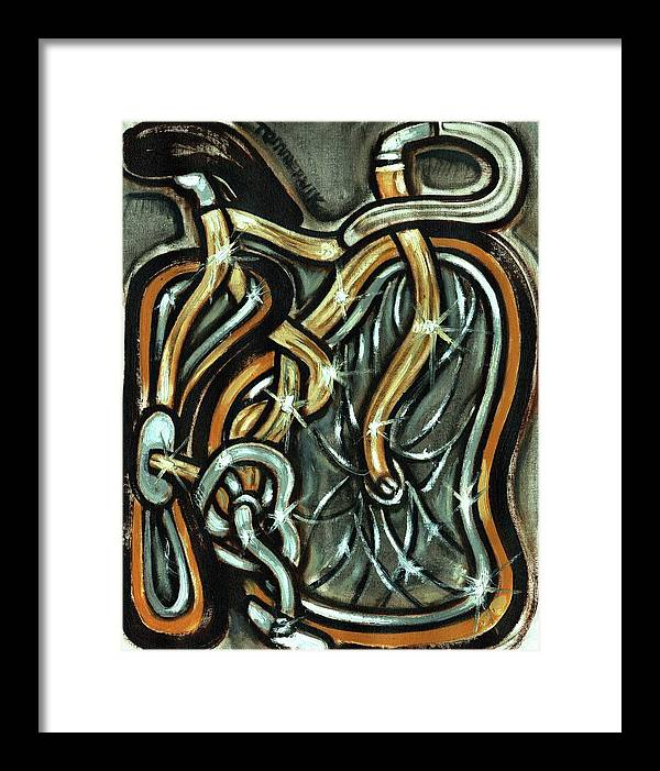 Bicycle Framed Print featuring the painting Tommervik Vintage Gold Ten Speed Bicycle by Tommervik