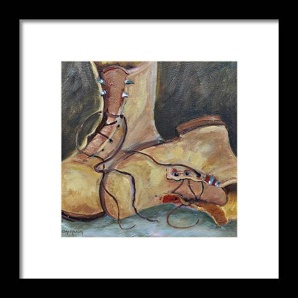 Boots Framed Print featuring the painting Toms Boots YO by Ginger Concepcion