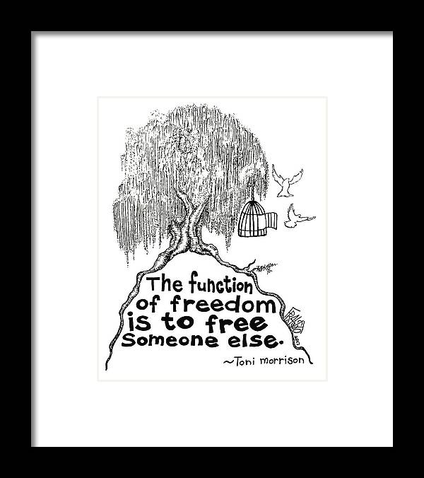 Pen And Ink Illustration Framed Print featuring the drawing Toni Morrison Tree Drawing by Rick Frausto