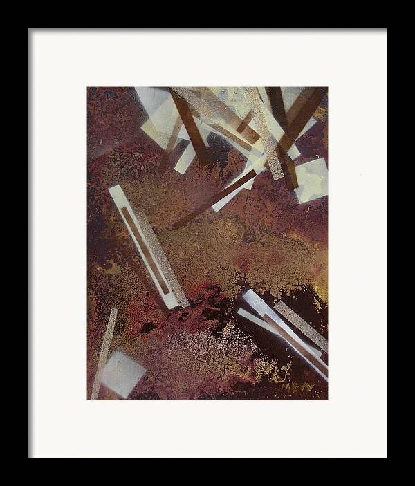 Abstract Framed Print featuring the painting Too Dark by Evguenia Men