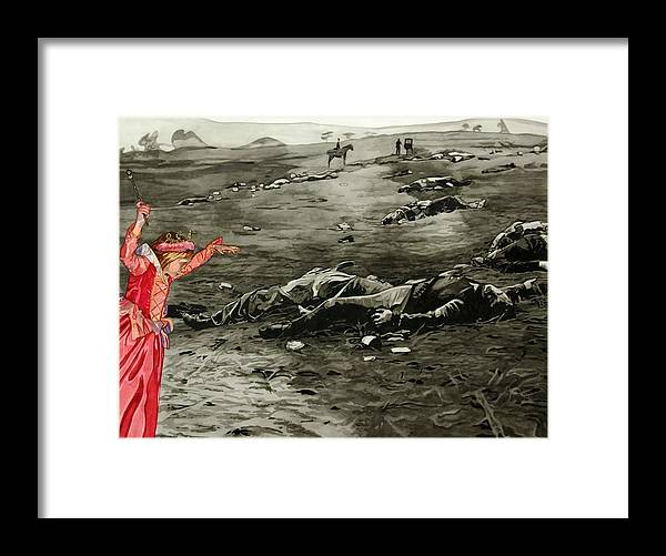 War Framed Print featuring the painting Too Late by Valerie Patterson