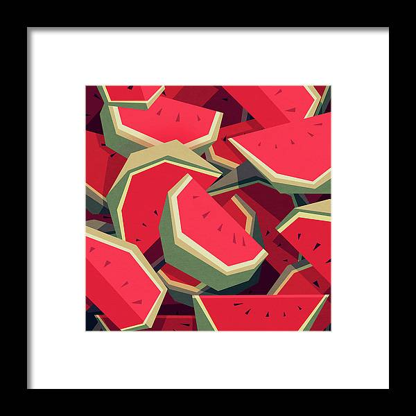 Watermelon Framed Print featuring the digital art Too many watermelons by Yetiland