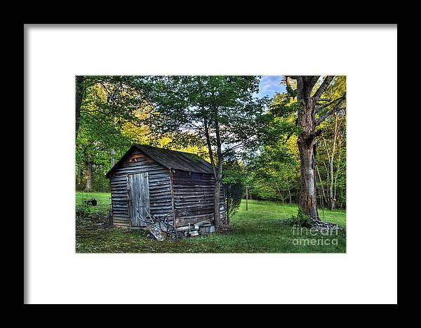Landscape Framed Print featuring the photograph Toolshed by Pete Hellmann