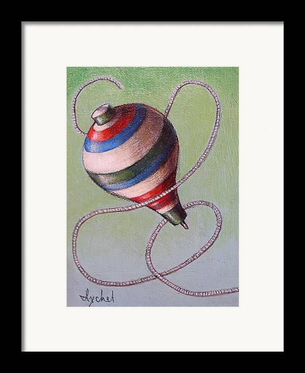 Toy Framed Print featuring the painting top by Ixchel Amor