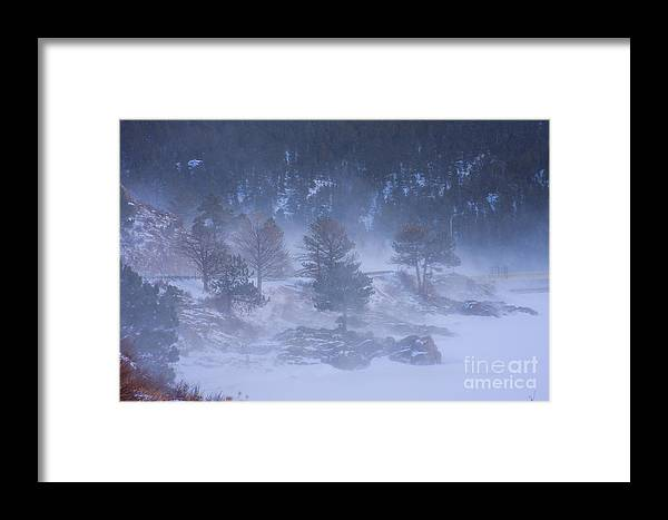 Blue Framed Print featuring the photograph Top Of Boulder Canyon Winter Snow by James BO Insogna