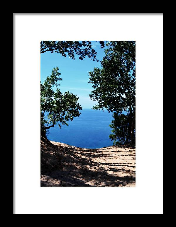 Sleeping Bear Dunes Framed Print featuring the photograph Top Of The Dune At Sleeping Bear Ll by Michelle Calkins