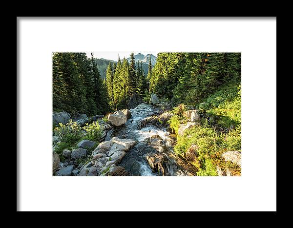 Myrtle Falls Framed Print featuring the photograph Top Of The Morning At The Top Of Myrtle Falls by Belinda Greb
