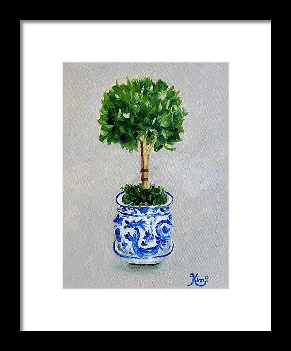 Topiary In Blue And White Porcelain Framed Print