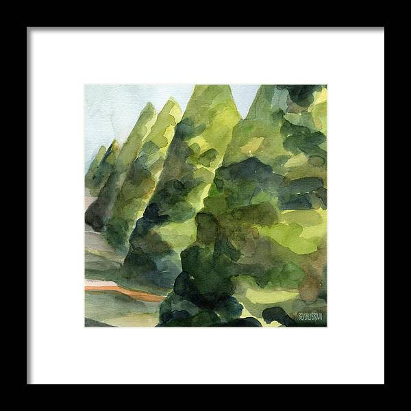 French Framed Print featuring the painting Topiary Parc St Cloud Watercolor Painting of France by Beverly Brown Prints