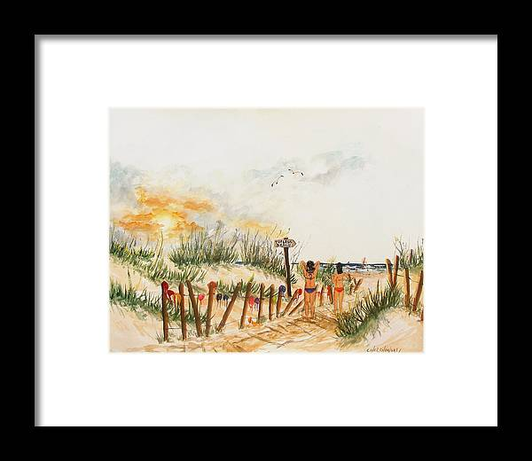 Topless Beach Bikini Woman Bra Framed Print featuring the painting Topless Beach by Miroslaw Chelchowski
