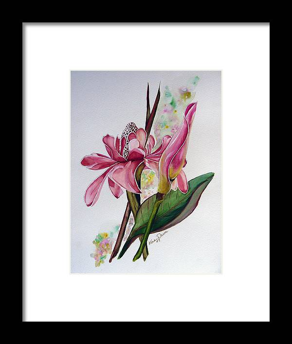Flower Painting Floral Painting Botanical Painting Flowering Ginger. Framed Print featuring the painting Torch Ginger Lily by Karin Dawn Kelshall- Best