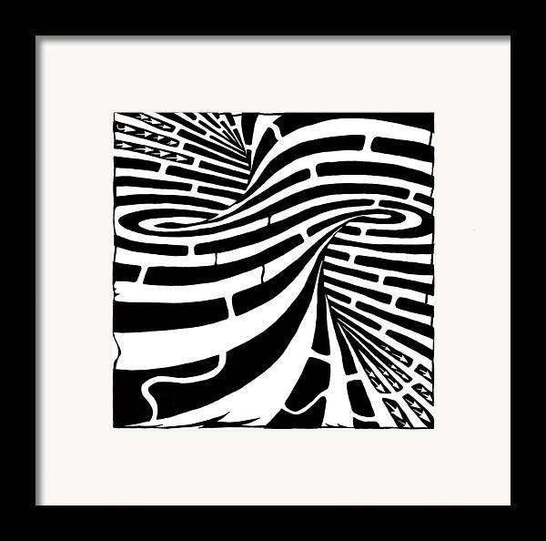 Maze Framed Print featuring the drawing Tornado Maze by Yonatan Frimer Maze Artist