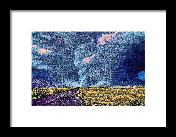 Framed Print featuring the digital art Tornado Storm by Modified Image