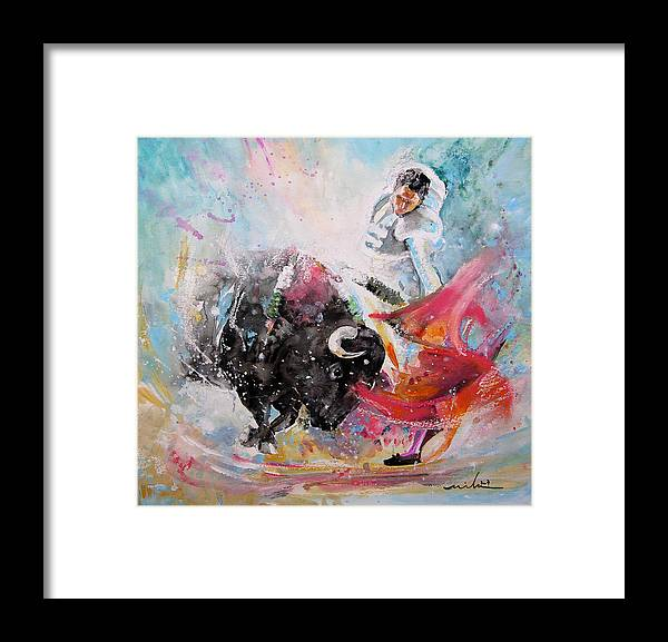 Animals Framed Print featuring the painting Toro Tempest by Miki De Goodaboom
