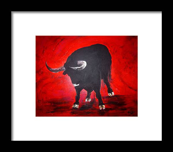 Bull. Bullfights Framed Print featuring the painting Toro Two On Red by April Turner