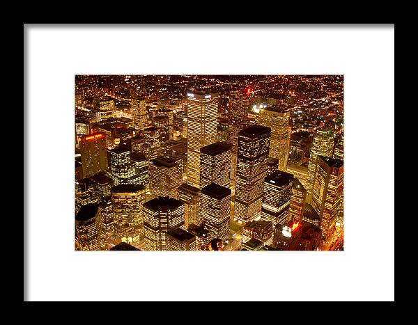 City Scape Framed Print featuring the photograph Toronto At Night by Linda McRae