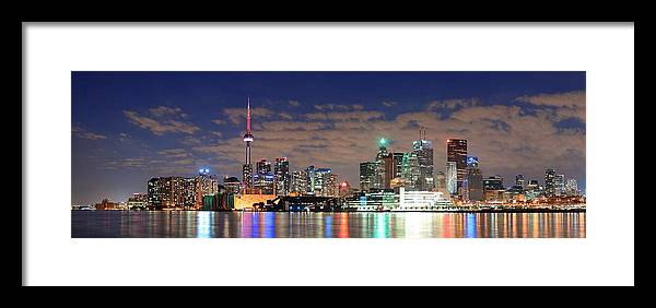 Toronto Framed Print featuring the photograph Toronto At Night by Songquan Deng