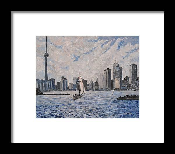 Toronto Framed Print featuring the painting Toronto Harbor East Gap by Ian Duncan MacDonald