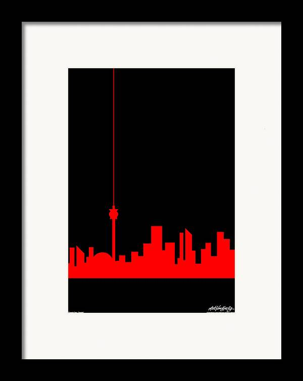 Toronto Framed Print featuring the painting Toronto Skyline by Asbjorn Lonvig