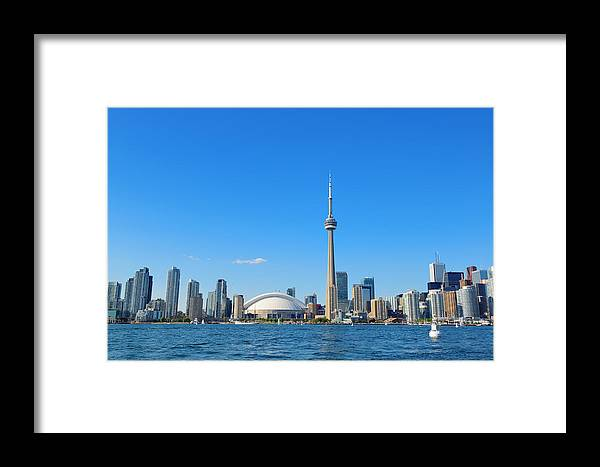 Toronto Framed Print featuring the photograph Toronto Skyline In The Day by Songquan Deng