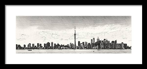 Toronto Skyline Sketch Framed Print by David Luttrell