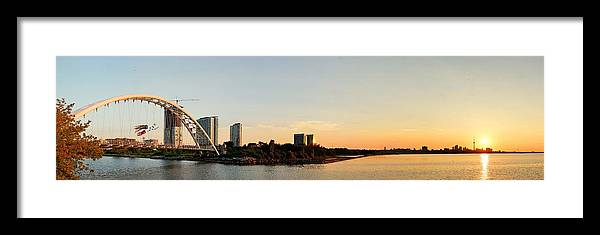 Toronto Framed Print featuring the photograph Toronto Sunrise Panorama by Songquan Deng
