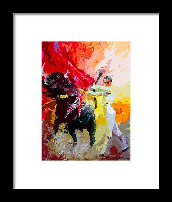 Animals Framed Print featuring the painting Toroscape 41 by Miki De Goodaboom
