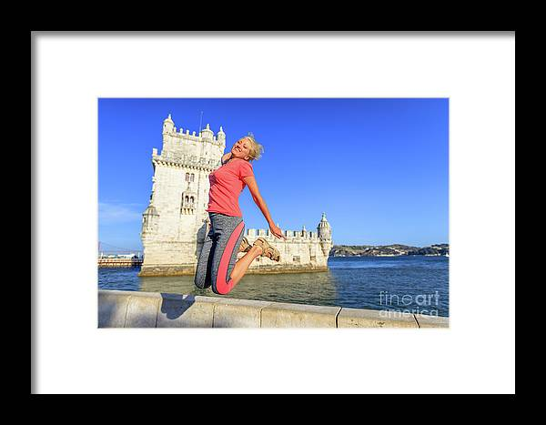 Lisbon Framed Print featuring the photograph Torre De Belem Jumping by Benny Marty
