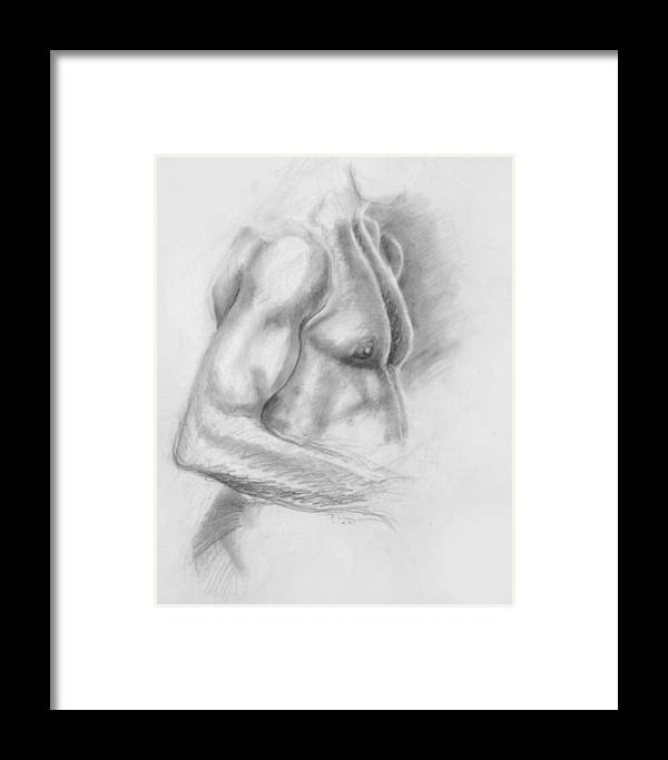 Torso Framed Print featuring the drawing Torso Chris II by John Clum