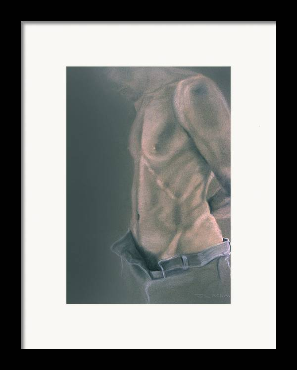 Man Framed Print featuring the painting Torso With Jeans by John Clum