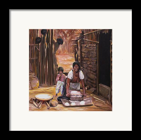 Mexican Framed Print featuring the painting Tortillas De Madre by Nancy Griswold
