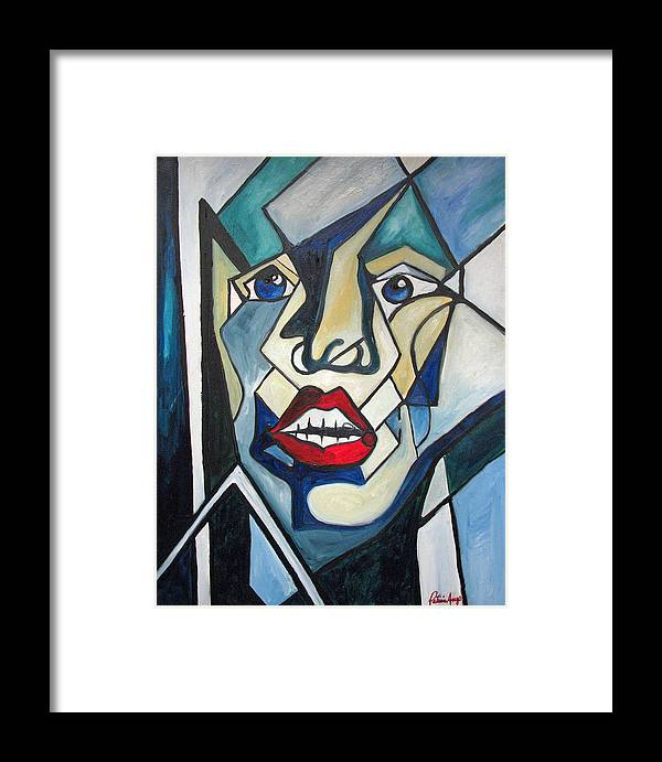 Abstract Framed Print featuring the painting Tortured by Patricia Arroyo