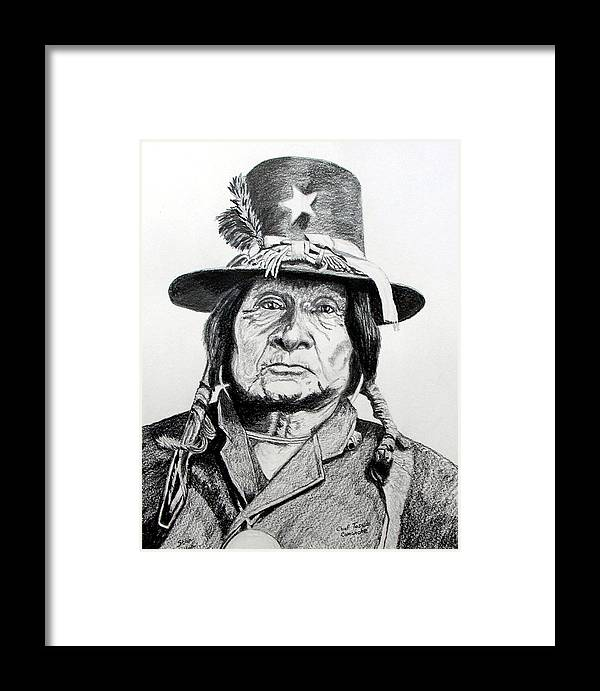 Indian Framed Print featuring the drawing Tosawi Comanche Chief by Stan Hamilton