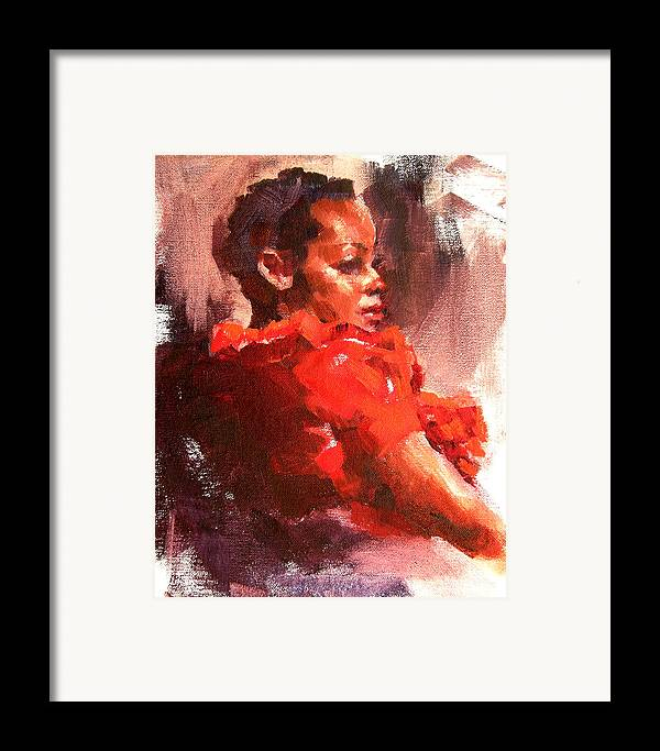 Portrait Framed Print featuring the painting Totally Red by Merle Keller