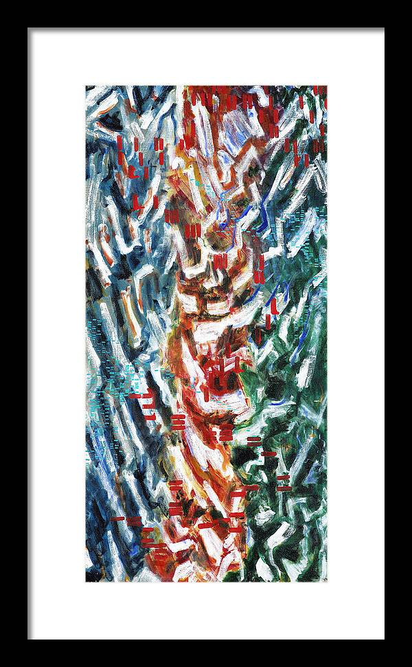 Abstract Red Green Blue White Pattern Framed Print featuring the painting Totem by Joan De Bot