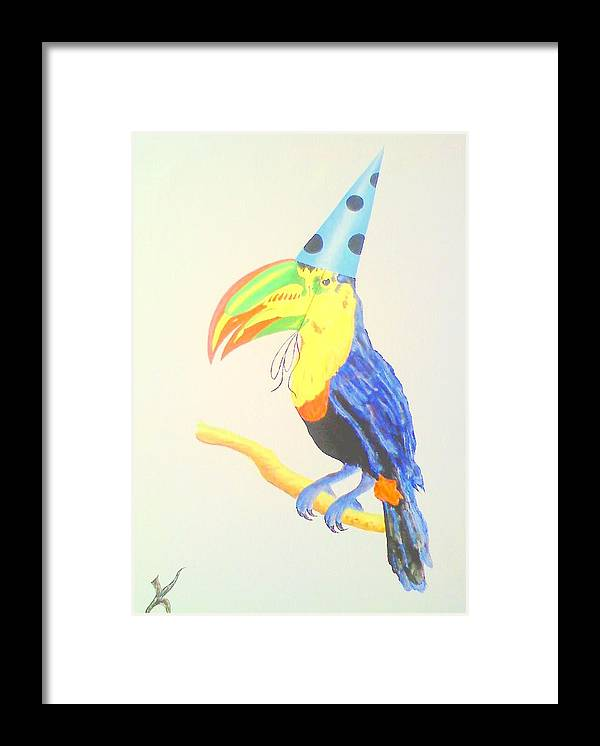 Toucan Party Hat Framed Print featuring the painting Toucan With Party Hat by Roger Golden