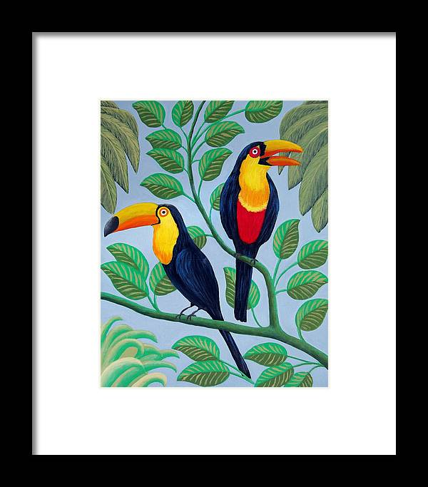 Birds Paintings Framed Print featuring the painting Toucans by Frederic Kohli