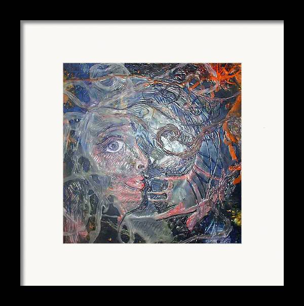 Abstract Framed Print featuring the painting Touched by Heather Hennick