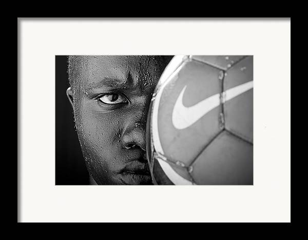 Soccer Framed Print featuring the photograph Tough Like A Nike Ball by Val Black Russian Tourchin