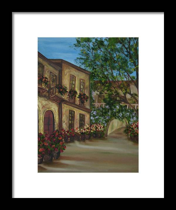 Cafe Framed Print featuring the painting Tour Through The Villa by Shiana Canatella